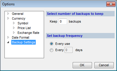 Options (Backup Settings tab) dialog box