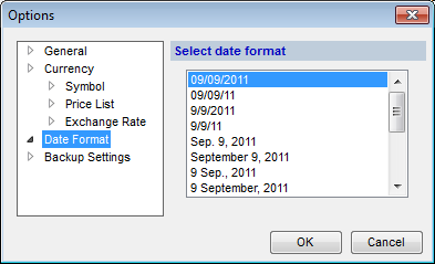 Options (Date Format tab) dialog box