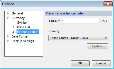 Options (Currency > Exchange Rate) dialog box