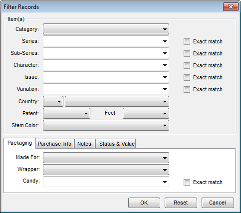 Filter Records dialog box