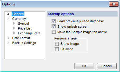 Options (General tab) dialog box