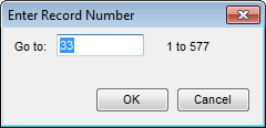 Enter Record Number dialog box