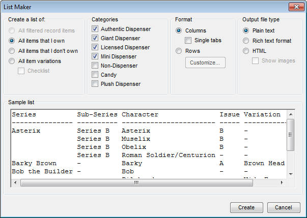 List Maker dialog box