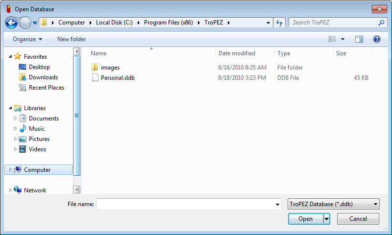 Open Database Dialog Box